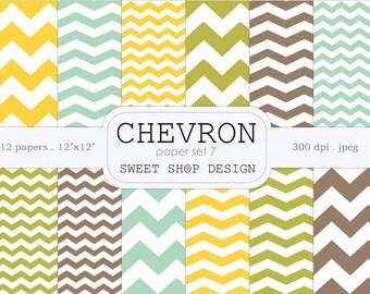Digital Paper, Printable Scrapbook Paper Pack, 12x12, Chevron N07, Set of 12 Papers