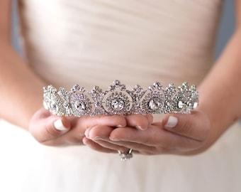 Vintage Bridal Tiara, Bridal Hair Accessory, Royal Bridal Crown, Rhinestone Wedding Crown, Antique Wedding Tiara, Bridal Headpiece ~TI-3286