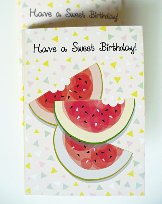 Watermelon birthday card have a sweet birthday card like this item bookmarktalkfo Choice Image