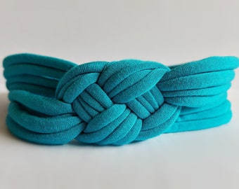 Womens' Wide Sailor Knot Headband in Turquoise, nautical hair accessory for beach vacation, stretchy comfortable fit, stocking stuffer, gift