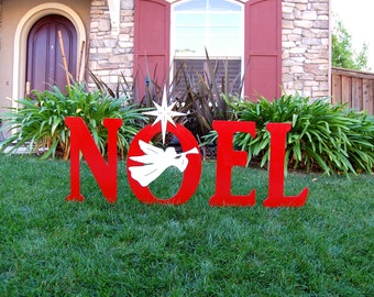 Noel With Christmas Angel Outdoor Holiday Yard Art Sign