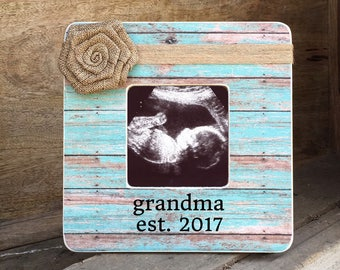 ON SALE  New Grandmother Grandma Pregnancy Announcement  Reveal to Parents Sonogram Ultrasound frame Personalized Picture Frame