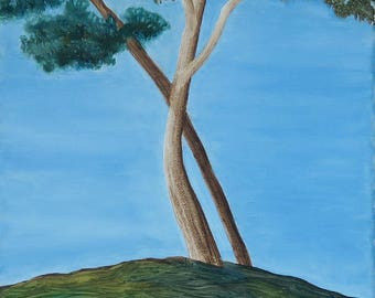 Trees on the Hill - Print of Oil on Canvas