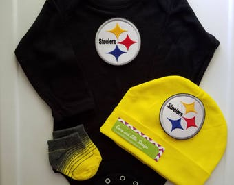 Pittsburgh Steelers baby outfit-Steelers baby boy shower gift-Steelers newborn-Pittsburgh Steelers take home/baby steeler/newborn steelers