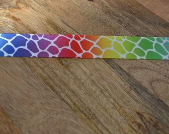 """1.5"""" Rainbow Giraffe Print Ribbon By The Yard Spring Ribbon Cheer Bow Ribbon"""