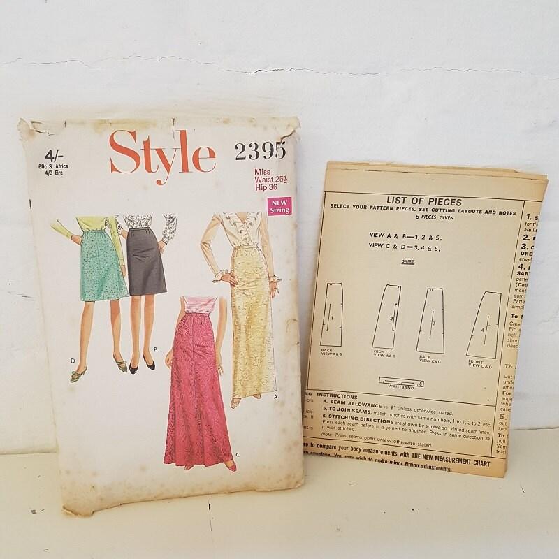 Patrón de costura Vintage 1969 \'Style\' falda de dos