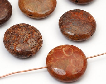 6 pcs fossil coral lentil beads, red dyed round disk semiprecious stone 20mm