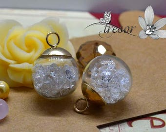 Set of 2 pendants, jars, glass, made by hand