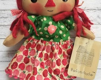 Thank You Teacher Pink Apple Annie - Primitive Raggedy Ann Doll (HAFAIR)