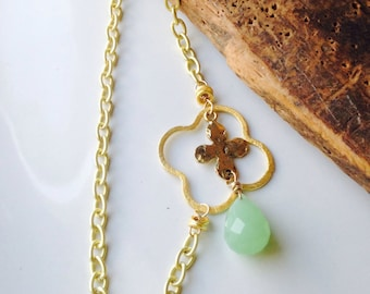 Quatrefoil Necklace, Cross Necklace, Gold Plated Necklace, Green Quartz, Layer Necklace, Opera Length, Etsy, Chain Necklace