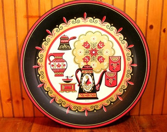 Round Tin Serving Tray With Folk Art Kitchen Design