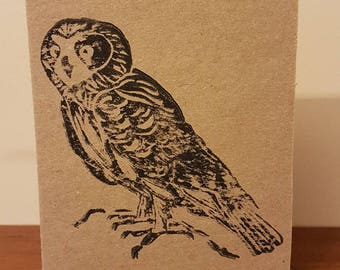 Lino-print Boobook Owl (A6 Brown Card)