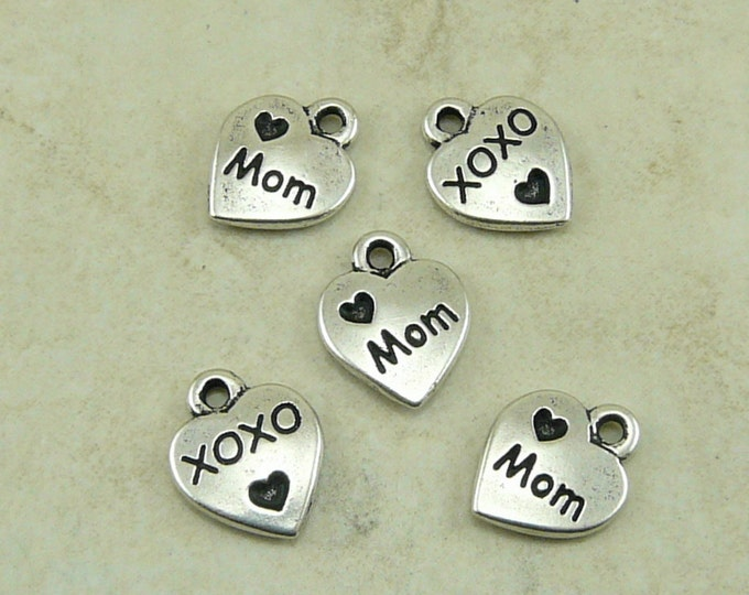 Featured listing image: 5 TierraCast Love Mom Mothers Day Charms > Heart xoxo Sentiment Daughter - Silver Plated Lead Free Pewter - I ship Internationally 2202