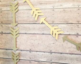 Gold Arrow Garland • Gold Baby Shower Decor • Gold Arrow Birthday Supplies • Metallic Arrow Cutout • Boho Party Arrow Garland • Tribal Arrow