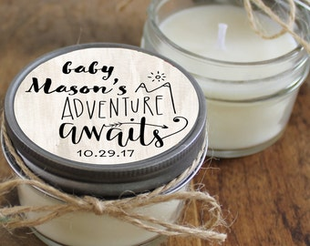 Set of 12 - 4 oz Baby Shower Favor Candles - Rose Label Design | Girl Baby Shower Favors | Soy Candle Favors | Floral Baby Shower Favor