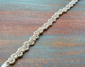 Bridal Pearl Belt Sash, Wedding Sash Belt, Wedding Dress Sash, Rhinestone Wedding Belt, Belts for Wedding Dress, Wedding Accessories