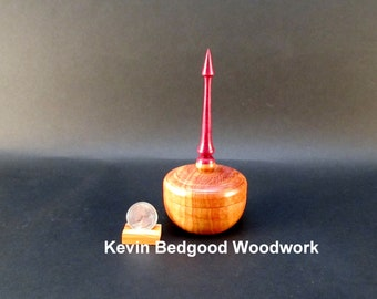 Box Lidded Container Carob wood with African Purpleheart finial hand turned jewelry