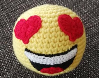 Crochet ball emoji smiley with eyes
