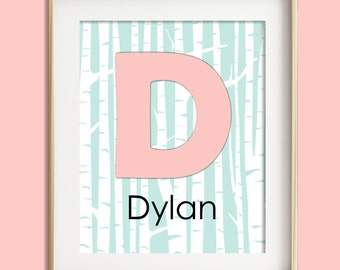 Personalized baby girl nursery wall art woodland baby nursery decor kids wall art pink teal nursery monogram nursery art girl room decor