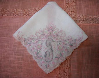 Monogram T Bridal Wedding Handkerchief