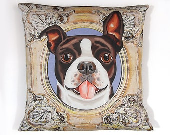Boston Terrier Pillow Cover - Brown Black - Square Boston Pillow