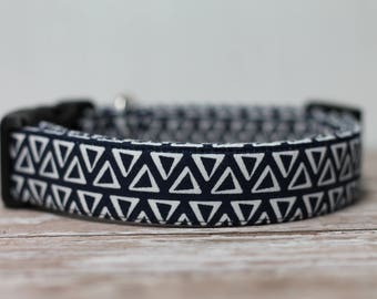 "Indigo Dog Collar / Navy Blue Dog Collar / Geometric Pattern Dog Collar /  Boho Style Collar /  Male Dog Collar / Girl Dog Collar ""The Maia"""