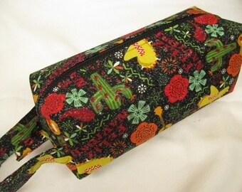 Feliz Navidad Christmas Cactus - Surprise embroidery Inside - Cosmetic Bag Makeup Bag LARGE