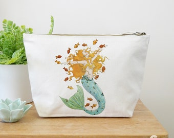 Mermaid Canvas Wash Bag, Large Zipper Pouch, Makeup Bag, Toiletry Bag, Accessory Bag, Mermaid Gift