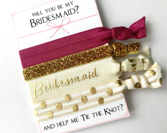 Bridesmaid gift. Bridesmaid hair ties. Choose your color, will you be my bridesmaid, be my maid of honor, be my flower girl, tying the knot