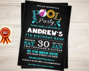 Pool Party Invitation. Boy Birthday Invitation. Pool Party Invite. Chalkboard 6th 7th 8th Birthday Invitation Pool Invitation Boy Invitation