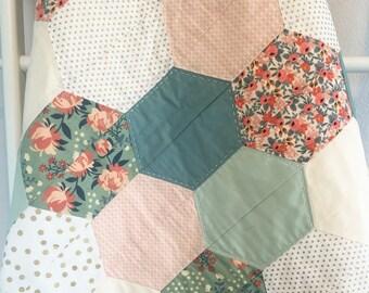 Custom Crib Quilt- Hexagon Quilt