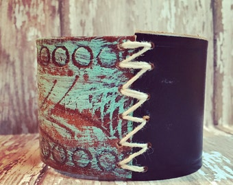 The Mixed Up stitched Leather Cuff