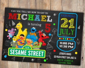 Sesame street birthday invitation, Sesame street, Elmo sesame street, Sesame street invitation, Sesame street birthday, Sesame birthday