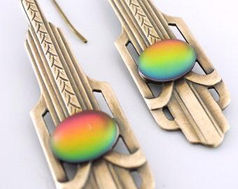 Vintage Earrings - Art Deco Earrings - Rainbow Earrings - Brass Earrings - Chloe's Vintage Jewelry - handmade jewelry