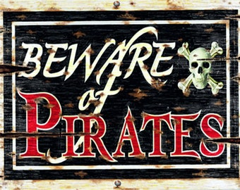Beware of pirates vintage style metal advertising wall plaque sign or framed picture frame