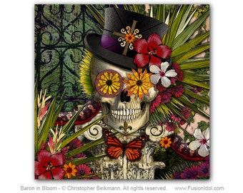 Floral Skull Art Canvas - Baron In Bloom - Baron Samedi - New Orleans Botanical Sugar Skull Voodoo Art