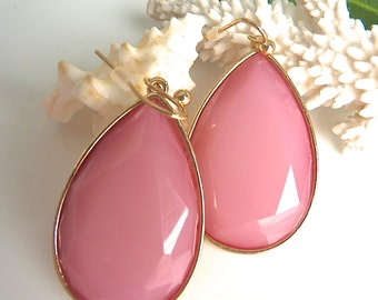 Oversize Pink and Gold Large Teardrop Dangle Earring. Bridesmaid Jewelry.