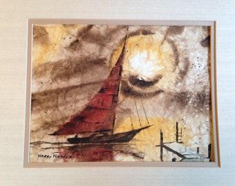 Harry Niemela Original Watercolor Painting of Sailboat Oregon artist