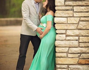 Maternity Gown for Photo Shoot-Short Sleeve Maternity Dress-Baby Shower Dress-Maxi Gown-Long Pregnancy Dress-CLARISSA Dress