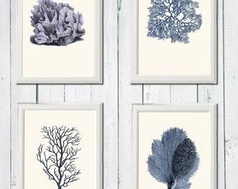 Navy blue Coral print  4 art sea vintage printables 8,5 x 11 inch digital file INSTANT DOWNLOAD