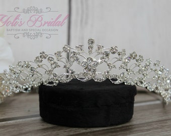 Silver Swarovski Tiara, QuinceaneraTiara, CrystalTiara ,Wedding Tiara, Wedding Headpiece, Bridal Tiara, Crystal Headpiece, Bridal Headpiece