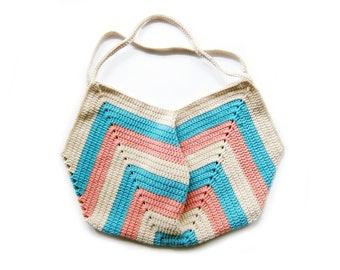 Crochet Tote Bag / Market Bag / Beach Bag / Grocery Bag - Three Tone Crochet Granny Tote Bag