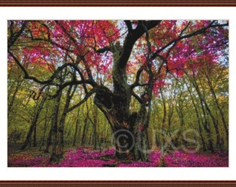 """Pink tree forest counted cross stitch pattern -"""" Only the Lonely """" - Licensed Borda Danut Adrian"""