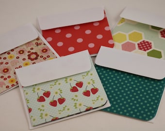 Set of 10 3x3 mini notecards with envelopes-gift cards