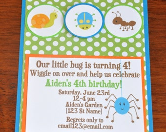 Bug Invitations.Insect Invites. Bug Party . A2. Birthday. Set of 6. Choose boy or girl