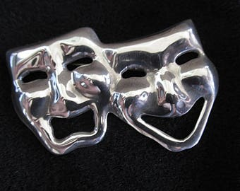Vintage Sterling Silver Brooch Pin Theatrical Masks Comedy Tragedy Thalia Melopene