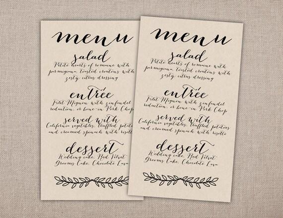 MENÚ papel de arte imprimible carta menú de boda menú para