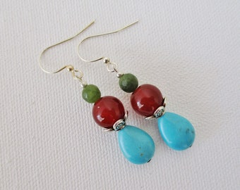 Turquoise, fire agate, jade silver earrings