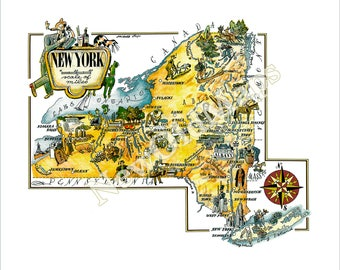 New York State Digital 1950s Vintage Illustrated Map by Jacques Liozu NYC Albany Catskills Syracuse Brooklyn Ithaca Upstate Long Island