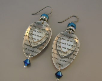 Our Father -  Antique 1875 Sterling Silver Demitasse Spoons Hearts The Lord's Prayer Transparency Niobium Wires Recycled Repurposed Earrings